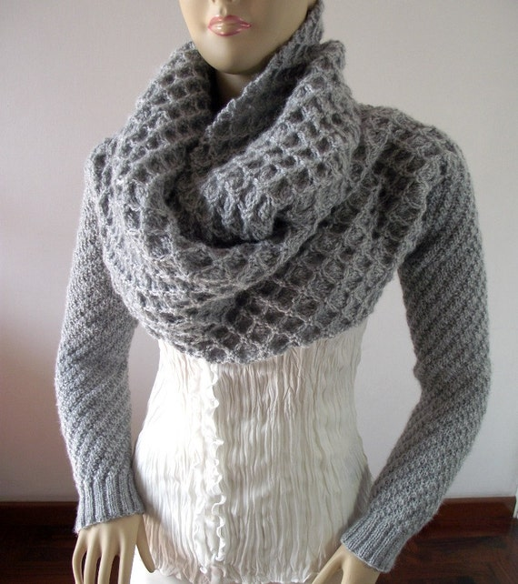 Knitting Pattern For Scarf With Sleeves : KNITTING PATTERN Scarf Sleeve big scarf with long sleeves Khloe Scarf Sleeves...