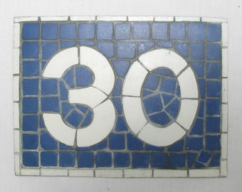 House Number Plate No. 30, Original French Blue and White Sign, Mosaic Signs, French Signs, French House Number Plate, Blue and White (078)
