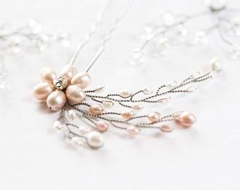 854_Pearl rhinestone flower hair pin, Ivory pearl hair vine, Pink pearl hair pin, Silver hair pin, Flower hair pin, Bridal pearl hair vine.
