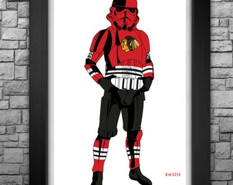"""STORMTROOPER """"Chicago Blackhawks (classic version)"""" limited edition art print. Available in 3 sizes!"""
