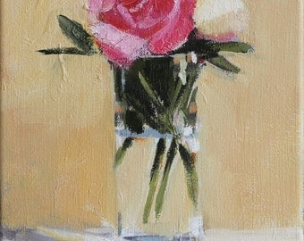 Pink Roses Original Oil Still Life Painting on Canvas 8x10 inch Canadian Floral Fine Art