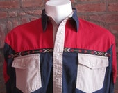 Mens LARGE cowboy shirt, Rustler by Wrangler, vintage, red navy and beige with southwest trim, pearl snaps (654)