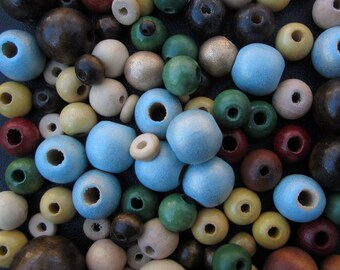 Roud Wooden Bead Mix, Brown, Gold, White, Blue, 5 mm - 21 mm -- 130 Beads