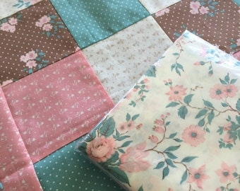 Sale Unfinished quilt top and backing, Free shipping, Lap Comfort Quilt, Patchwork, Handmade, Includes Backing Fabric