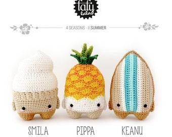 4 seasons L'ÉTÉ (cône de glace, ananas, planche de surf) • lalylala patron au crochet / amigurumi