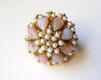 Vintage Adjustable Ring Glass Opals Faux Pearls Gold Tone Metal from TreasuresOfGrace