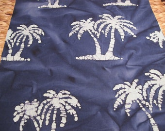 """14"""" x 14"""" PILLOW COVER - Tropical Palm Tree Silhouettes on Sea Blue Indian Batik"""