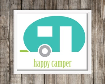 Modern Happy Camper 8X10 Wall Art Airstream Trailer Home decor.  Wall Art ~ Digital Download
