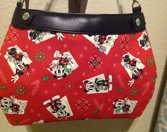 Mickey Mouse and Minnie Mouse on red Christmas  suite skirt HANDMADE Thirty One skirt