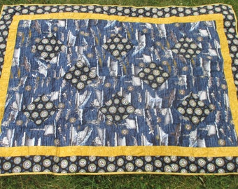 Vintage Quilt Navy and Airforce Handmade Quilt Miltary Quilt