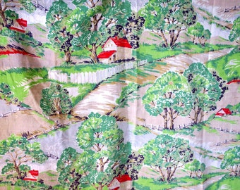 "Fabric ... Great old Fabric 1 pc Barkcloth  fabric 32 x 40"" Houses , Trees Scenery"