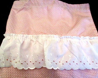 Vintage  Shower Curtain Pink & White  Check Gingham w White Eyelet Valance  68 x 68""