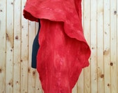 SALE of Fiery red felted shawl of merino wool and fancy woolen yarn - handmade and one of a kind