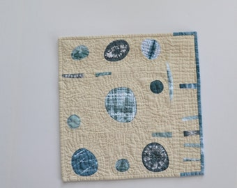 Hand Dyed Wall Hanging, Hand Quilted ,  Mini Quilt, Shibori Quilt, Quilted Wall Hanging, Fiber Art, Blue, Indigo