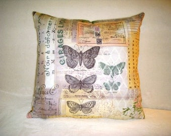 Pillow Cover Tim Holtz Wallflower Botanical Butterflies Letters Musical Notes Flowers Script Black Green Pink Cream Lavender White