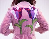 Pretty in Pink Tulip Garden Up-Cycled Corduroy Jacket