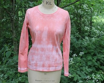 Custom Tie Dye Long Sleeve Striped Top in Salmon Pink, Hand-Dyed 100% Cotton T Shirt, Boho Hippie Festival. Size M
