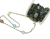 Black Rhodium Plated Pyrite Gemstone Beaded Chain with Multi Colour Faceted Gemstone Connectors Beads Cluster Bulk Chain Spools wholesale