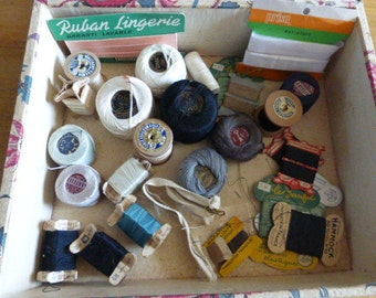 Vintage Thread Bobbins Victorian and Edwardian Remnants Cotton and other Assorted Threads