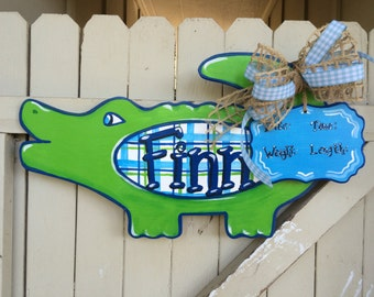 Baby Gator Alligator Door Hanger Personalized Hand Painted