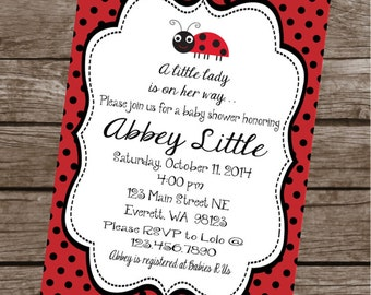 LITTLE LADYBUG Happy Birthday Party or Baby Shower Invitations Set of 12 {1 Dozen} - Party Packs Available
