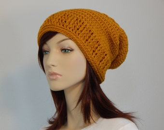 Gold Slouch Hat,  Autumn Gold Yellow Slouchy Beanie, Womens Hat, Mustard Winter Slouch, Free Spirit Style, Bohemian, MarlowsGiftCottage