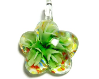 Pendant, lampwork glass, multicolored with copper-colored foil, 45x34mm single-sided domed flower. Sold individually.