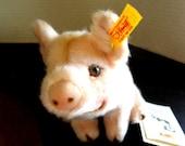 Pink Plush Pig w/ a Wonderful Expression Steiff Button in Ear, w/Tags Germany Birthday Gift
