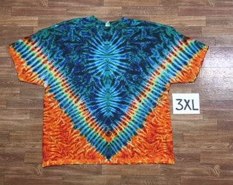 Tie Dye T-Shirt ~ Rainbow V with Aqua Orbs and Fire Scrunch Background i1315 ~ Triple Extra Large