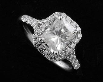 Radiant Cut Moissanite Ring, Halo Diamond Engagement Ring, Forever One Moissanite Ring, Split Shank Engagement Ring, White Gold Modern Ring
