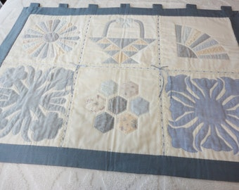 Handmade Shadow Quilted Wall Hanging in Predominately Blues