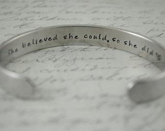 She Believed She Could So She Did Secret Message Hand Stamped Bracelet-