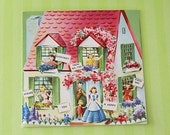 Vintage 1950s BIRTHDAY Card - Family HOUSE and Flowers - Unused + Envelope