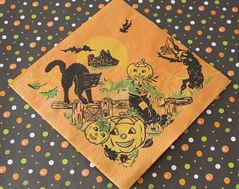 Vintage HALLOWEEN Paper NAPKIN - Hissing Black Cat & Jack O' Lanterns - 1950s (UNUSED)