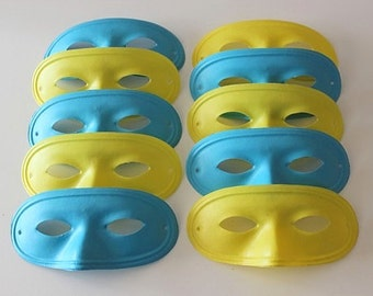 Vintage HALLOWEEN Masquerade EYE MASKS  - 1960s Plastic - Yellow & Blue (10 Total)