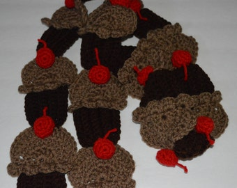 Crocheted Cupcake Scarf in Chocolate