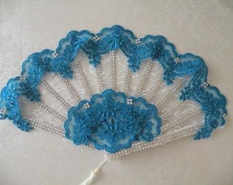 Gorgeous Handheld TEAL Wedding Fan,  Quinceanera , Bridesmaid Fan, Masquerade Fan, Costume Fan