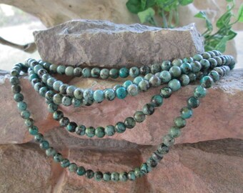"6 mm Round Bead African Turquoise Jasper Gemstone Beads 8"" Strand Blue"