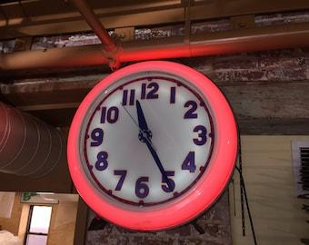 Vintage Neon Gas Station Clock