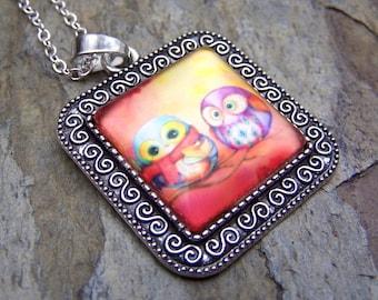 Owl Necklace Girls Owl Jewelry Silver Owl Necklace Kids