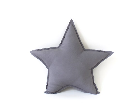 Star shaped Pillow - decorative star pillow in french grey, soft cotton