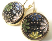Black glass vintage button earrings, Czech multicolor floral glass buttons