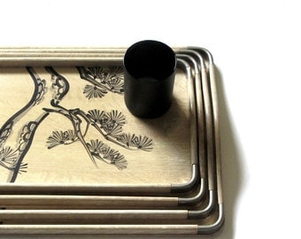 Japanese Wood and Silver Metal Nesting Tray Set Traditional Asian Pine Tree Hand Painted Serving Mid Century Home