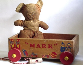 Vintage Wood Wagon Pull Toy Cart 1960s Painted Graphics Photo Prop Display