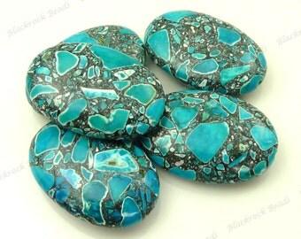 Mosaic Turquoise Puffed Oval Gemstone Beads - 6pcs - 30x20mm, Blue, Charcoal Gray, White, Large Beads - BK30