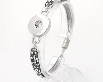 "1 Bracelet - 7.5"" FITS 18MM Candy Snap Charm Jewelry Silver Magnetic kb0503 CJ0241"