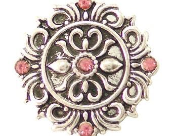 1 PC 18MM Pink Flourish Rhinestone Silver Candy Snap Charm kb6482 CC1634