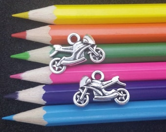 5 PCS - Motorcycle Bike Silver Charm Pendant C1455