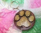 Paw Print Keyrings - Gold and Brown