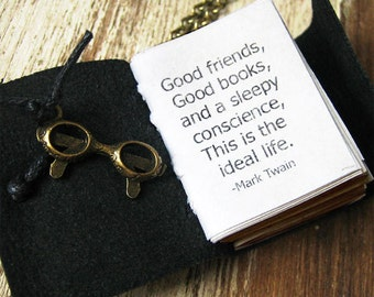 book necklace with quote by Mark Twain Good friends Good books and a sleepy consience inspirational quote necklace for women book love